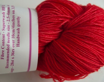 Hand-Dyed Yarn in Red Hot Chilli Colourway 4ply Superwash BFL Sturdy Base