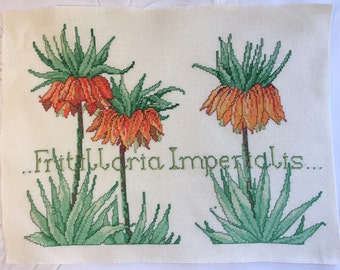 Finished / Completed Cross Stitch - flowers crown fritillaria imperialis crossstitch counted cross stitch