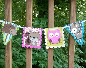 Enchanted Forest Banner Woodland Wildlife Banner READY TO SHiP Forest Birthday Banner Forest baby Shower It's a Girl Shower Girl Birthday