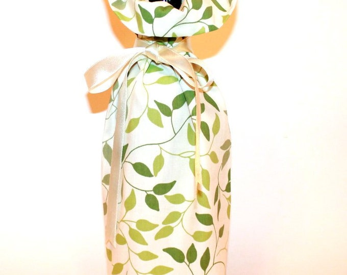 WINE GIFT BAG ~ Green Leaves ~ Sack ~ Tote ~ Bell Art Designs WB105