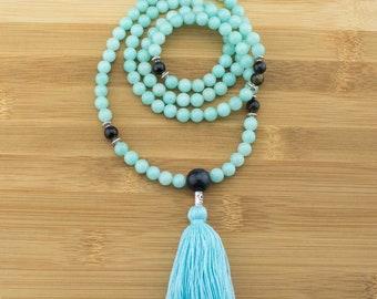 Amazonite Mala Beads Necklace with Blue Tigers Eye    8mm   108 Buddhist Meditation Prayer Beads Mala with Tassel   Free Shipping