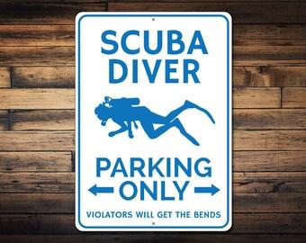 Scuba Diver Parking Sign, Scuba Decor, Scuba Diver Gift, Gift for Scuba Lover, Scuba Diving Metal Sign - Quality Aluminum ENS1002542