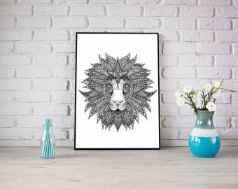 Poster minimalist lion illustration black and white