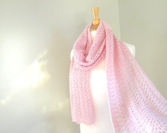Light Pink Cashmere Scarf, Hand Knit Knitted, Extra Long Scarf, Lace Lacy Wrap Scarf, Pure Cashmere