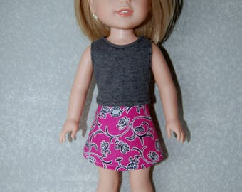 Gray Tank Top and skirt set handmade for 14.5 inch Wellie Wishers tkct1123 READY TO SHIP