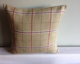 "Beige, cream, red check 16"" cushion cover,  pillow, scatter cushion."
