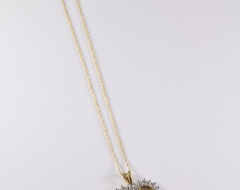 Vintage 10K Yellow Gold Diamond Heart Necklace