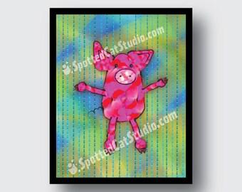 Pink Pig illustration, wall art decor, digital download