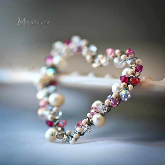 Pearls and Pink Crystal Wrapped Heart Sterling Silver Necklace