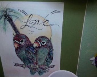 Prison Art Drawing....Love Birds
