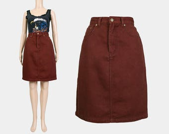 Brown Jean Skirt   90s Denim Skirt   High Waisted Pencil Skirt   Minimal Grunge Denim Mini Skirt   90s Clothing   Small Medium S M 6/8