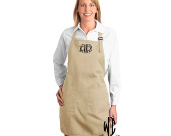 Personalized monogrammed apron, full length apron with pockets, adjustable strap, cooking apron, monogram apron, gift for chef, gift for her