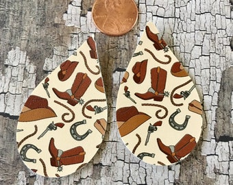 Cowboy Hat, Boots, Horseshoe, Western Faux Leather Pleather Shapes Cut Outs Earring Supplies Do It Yourself Craft Jewelry Supplies
