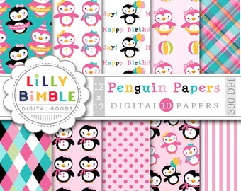 Penguin digital paper with girl penguin for birthday party invites, cards INStANt Download