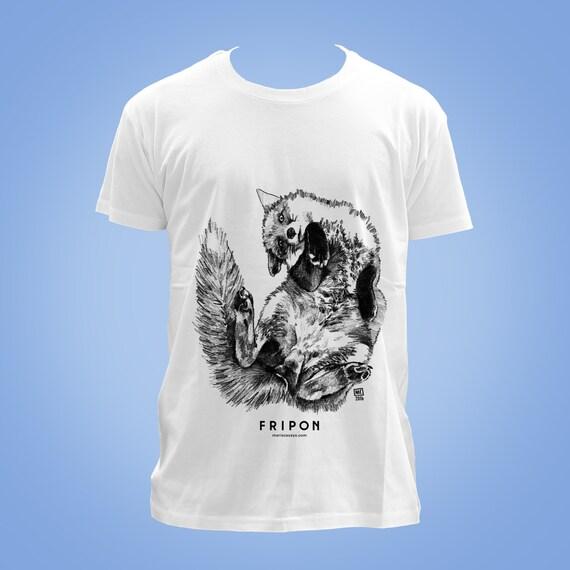 Organic cotton t-shirt: baleine à bosse LYRIQUE (lyric, lyrical humpback whale) animal totem 2016 illustration