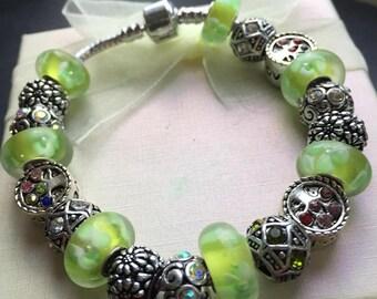 Vintage Pandora Style Charm Bracelet