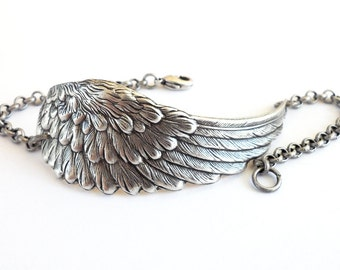 Steampunk Large Angel Wing Anklet Sterling Silver Ox Finish