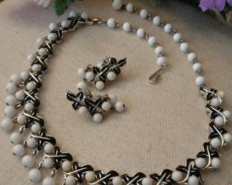 CORO Designer Demi Parure Set, Choker, Bracelet, Clip On Earrings, White Beaded, Black Enamel, Beautiful Set