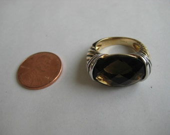 2 tone brown Smoky quartz vintage sterling silver Ring size 5.5