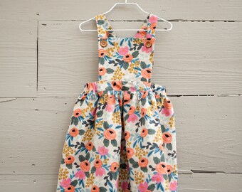 Toddler Girl's Pinafore Dress / Floral Pinafore / Rifle Paper Co. Fabric Dress / Liberty of London Pinafore