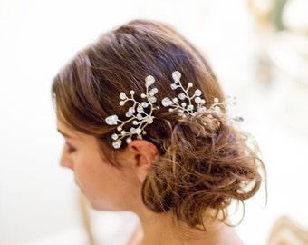 Wedding hair accessory - hair vine  - crystal beads and pearls