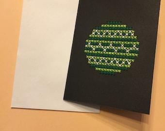 Green Chevron Circle Card