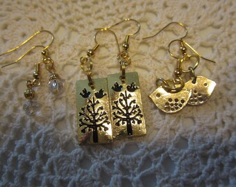 Set of 3 pair of earrings for the Bird lover