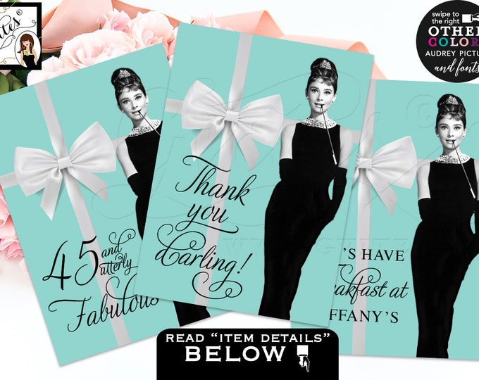 Audrey Hepburn party signs, bridal shower decorations, Breakfast at printable sign thank you, Set of 3 CUSTOMIZABLE {4x6 or 5x7}
