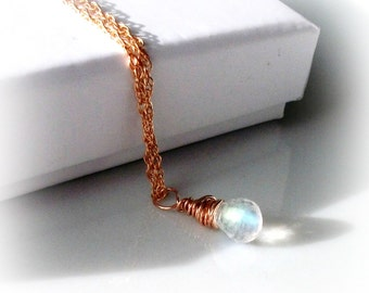 Tiny Moonstone Solitaire Necklace On Rose Gold Rope Chain - Gift For her