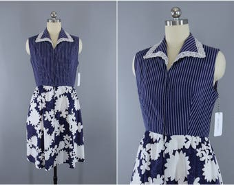 Vintage 1960s Dress / 60s Sundress / Navy Blue Day Dress / Floral Stripes / Evelyn Pearson Loungewear / XXS