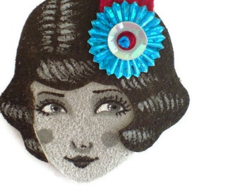 Reserved for Sophie - Charleston Flapper Fabric Brooch