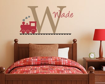 Initial Wall Decal with Name and Train - Personalized Name Decal - Train Wall Decal - Medium