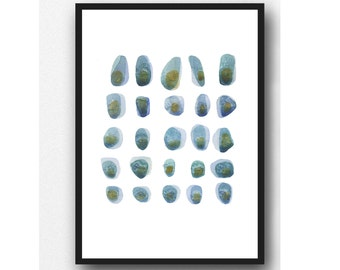 Abstract Watercolor art, Beach pebbles  Fine art print Watercolor painting Mossy green turquoise blue