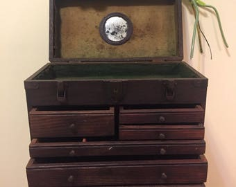 ANTIQUE MACHINIST CHEST with Mirror, Vintage Machinist Tool Box, Wooden Tool Chest, 5 Drawers, Jewelry Box, Tackle Box at Ageless Alchemy