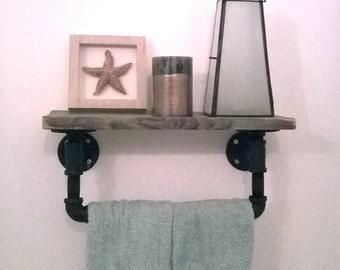 Salvaged barnwood and pipe towel rack || rustic towel rack || rustic reclaimed wood shelf || shabby chic || Steel and wood barnboard shelf