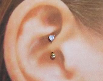 Golden Daith Piercing,Surgical steel Heart Cz..16g..8mm
