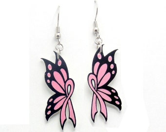 Handcrafted Plastic Pink Ribbon Breast Cancer Awareness Butterfly Earrings Gifts for Her, Survivor Accessories