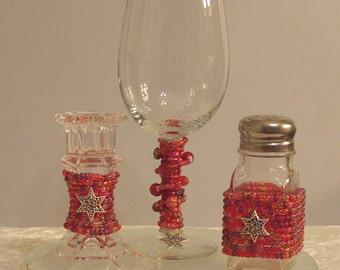 Red Beaded Havdalah Set