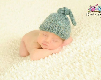 Knotted-Top Hat Photography Prop Hand Knit, Blue -38 COLORS-  Baby Boy ~ Girl, Newborn, 0-3,3-6, 6-9, 9-12 months, Original Design