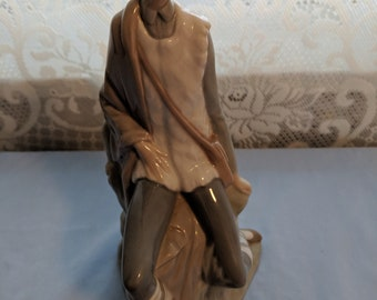 Vintage Lladro NAO Seated Shepherd Boy Retired Porcelain Figurine