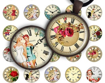 75% OFF SALE Retro Clock - Digital Collage Sheet 1 inch and 1.2 inch size image for pendants round glass charms resin digital image magnets