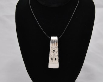 Pendant Necklace with Coronation Pattern made from a Vintage Antique Silverware Spoon Silver Plated