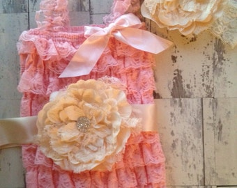 Pink in Paris 3 piece lace petti romper set Pink and Ivory