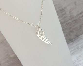 Sterling Silver Angel Wing Necklace/SilverAngel Wing/Angel Wing Pendant/Everyday/Layer/Symbol/Freedom/Gift/UK/Silver Necklace/Boho
