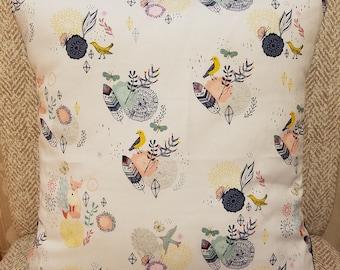 Fox print slipcover, Animal Print Slipcover, Bird Print Slipcover, Handmade Slipcover, Boho Slipcover, Bohemian, Custom