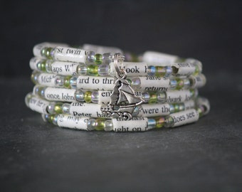 Peter Pan, Peter Pan jewelry, Peter Pan bracelet, Peter Pan gift, recycled book, book lover gift, book page bracelet, pirate ship jewelry