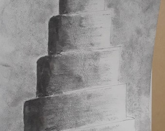 "7x11"" Original Charcoal Drawing Winding Minaret"