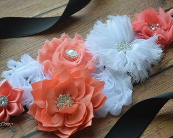 Coral white Sash,  , flower Belt, maternity sash, wedding sash, flower girl sash, maternity sash belt
