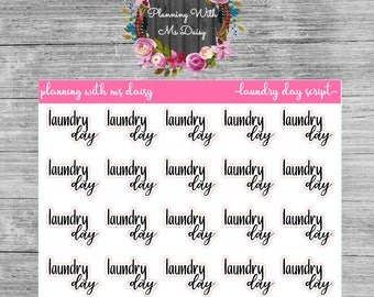 Laundry Day Script Stickers - With or Without Doodle