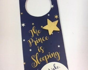 "The ""Little Prince is Sleeping"" Door Hanger- Wood"